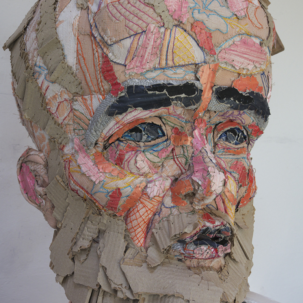 Eveline van Duyl Aristóteles 140 × 190 × 55 cm, 2013/4 corrugated cupboard, embroidery, textile