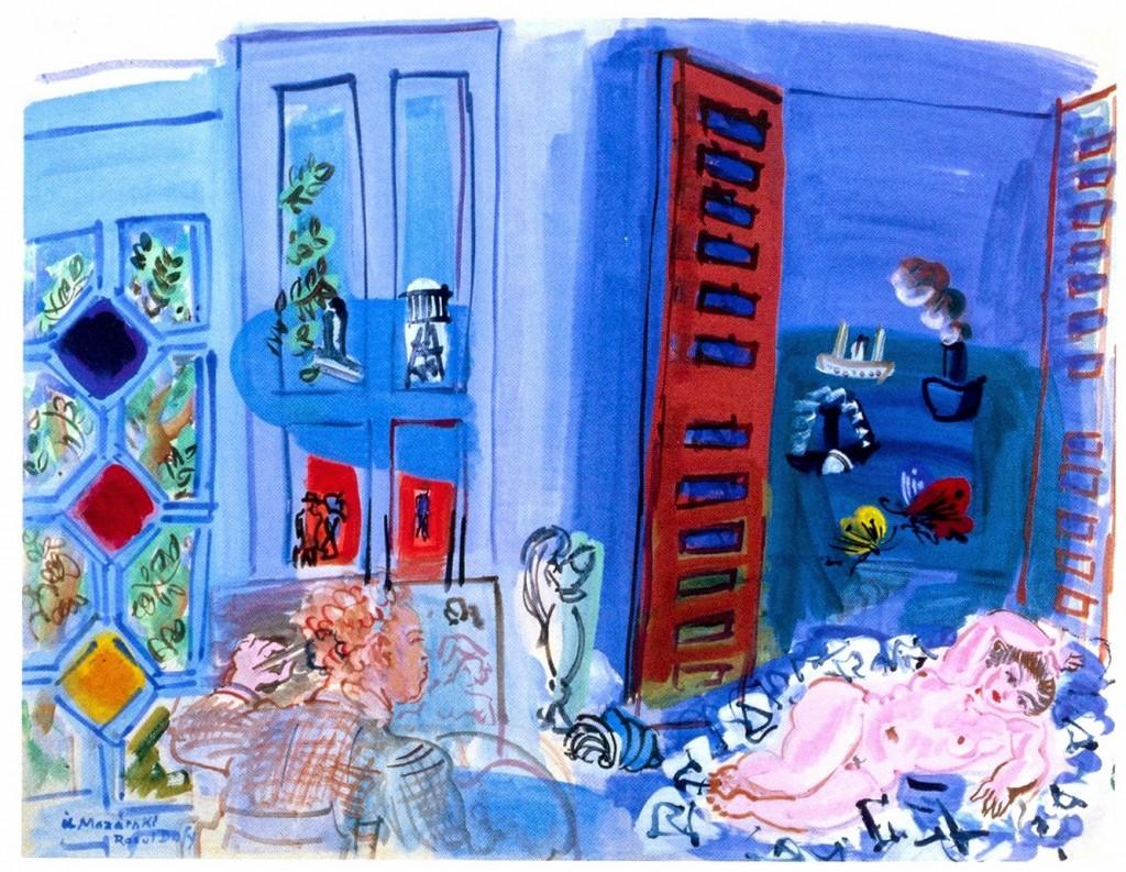 3+El+estudio,+interior+[L'Atelier,+intérieur]+(1929).+Acuarela+sobre+papel.+51+x+65+cm.+Gemeentemuseum,+La+Haya.