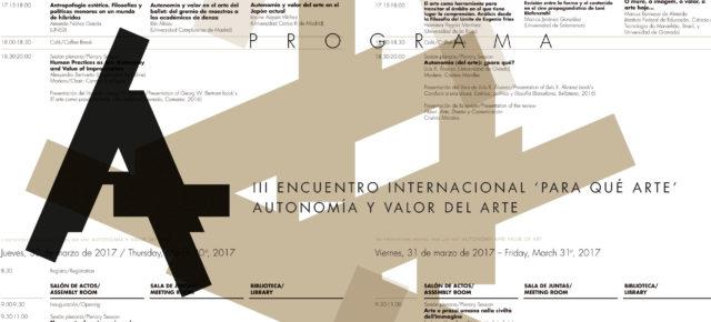 III Encuentro Internacional 'Para qué arte':  Autonomía y valor del arte